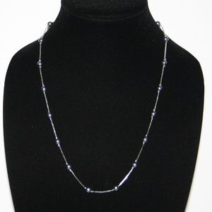 """Beautiful silver and gray pearl necklace 30"""""""